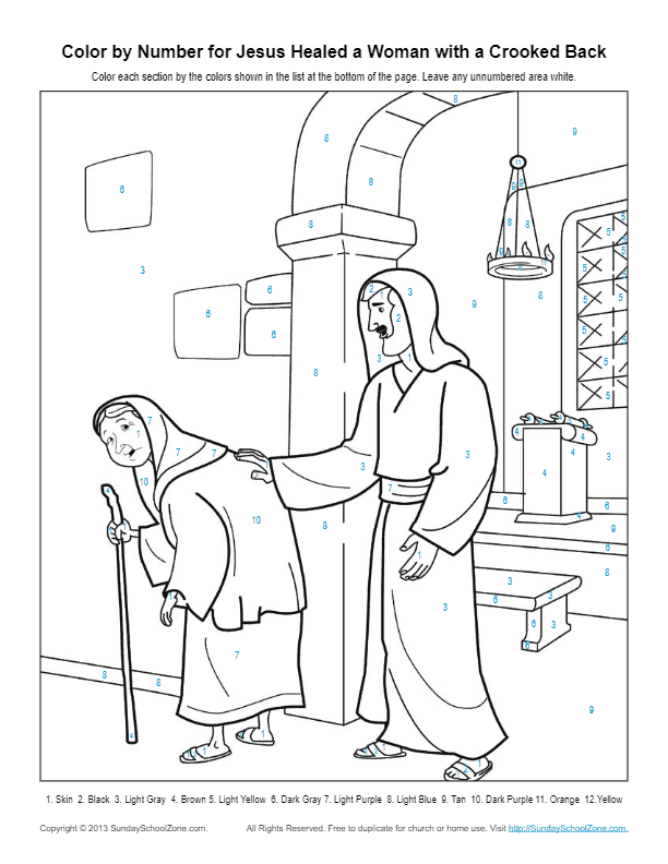 Color By Number Bible Coloring Pages On Sunday School Zone Bible Coloring Pages Bible Coloring Coloring Pages