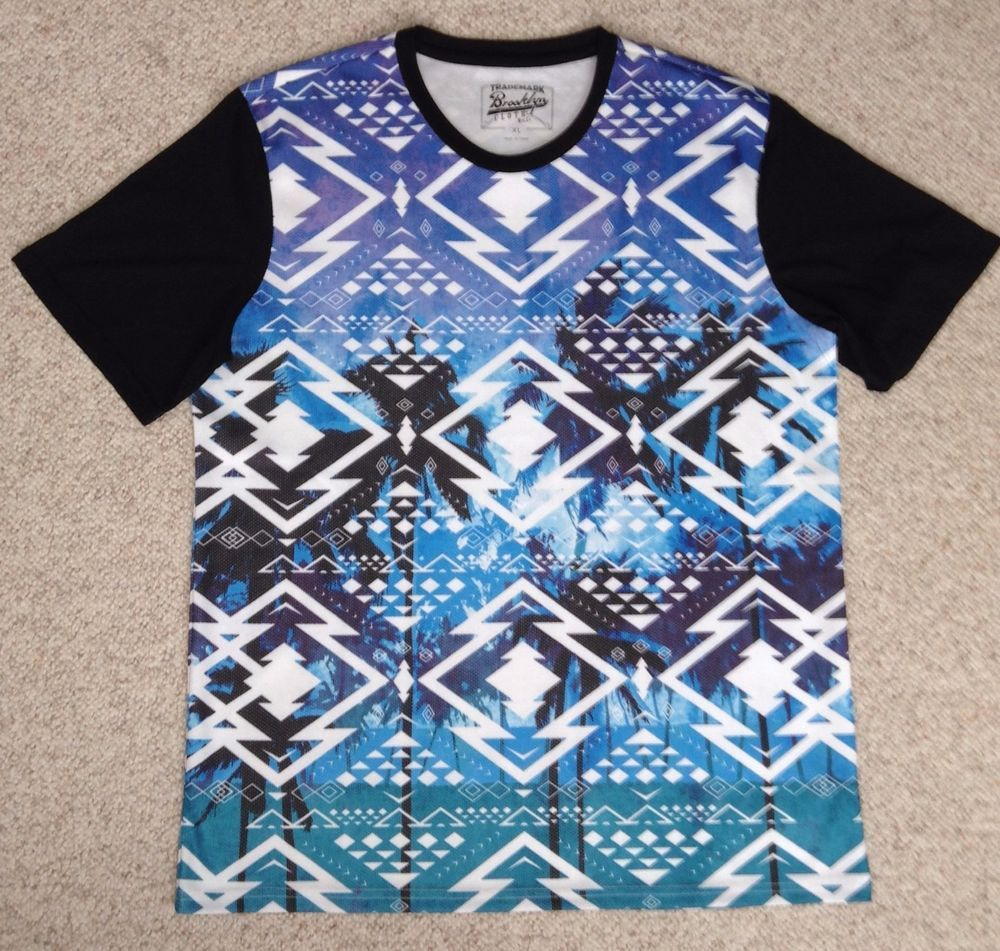 Tribal design t shirt - Polyest Palm Tree T Shirt Blue White Black Geometric Aztec Tribal