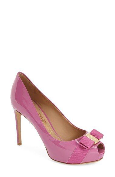 0fec45be6032 Salvatore Ferragamo  Plum  Peep Toe Patent Leather Pump