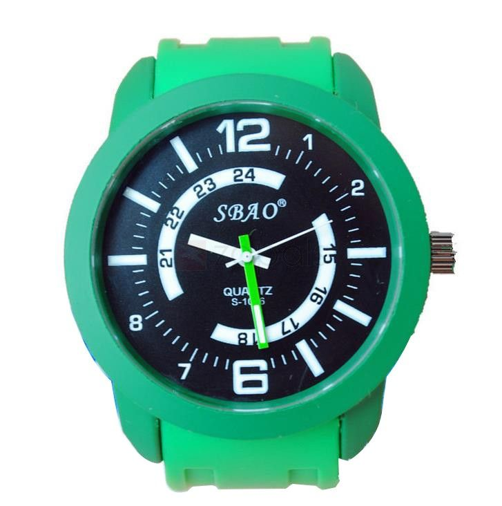 Solid Color Round Dial Watch Water Proof Sports Watch Quartz Watch SBAO S1066