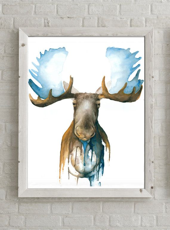 Abstract Moose Watercolor Glicee Print Made From Original Etsy In 2021 Moose Painting Glicee Prints Art