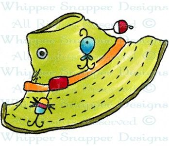 Fishing Hat Fishing Camping Rubber Stamps Shop Scrapbook Clothing Fishing Hat Painted Rock Animals
