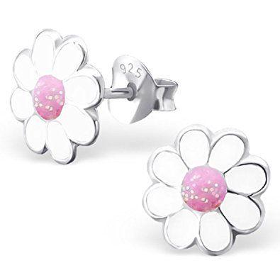 194f71df1f92 Laimons - Pendientes con forma de margarita para niña - Plata de ley 925 y  cristales - Rosa