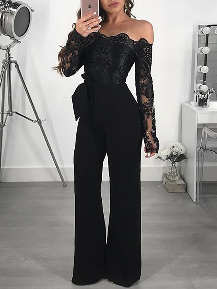 8287622df8 Off Shoulder Guipure Lace Bodice Jumpsuit in 2019