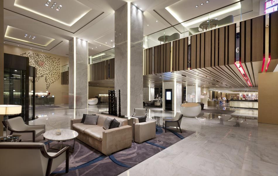 Mezzanine clg treatment lobby public hotel lobby for Design hotel xian