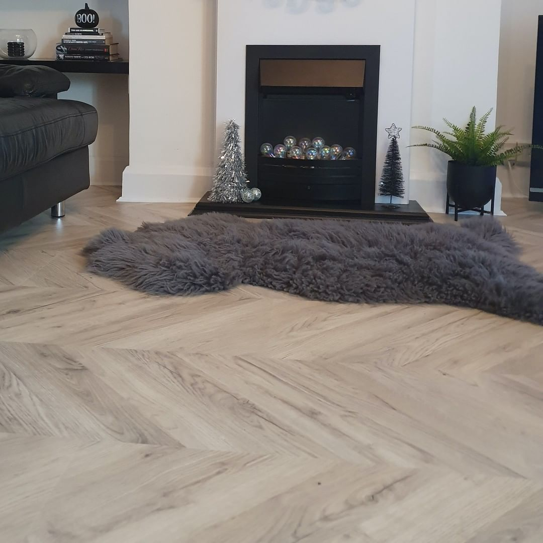 Light Oak Herringbone Floor Chevron