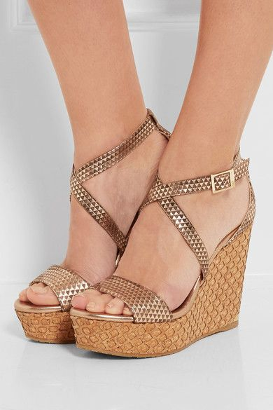Portia embossed leather wedge sandals