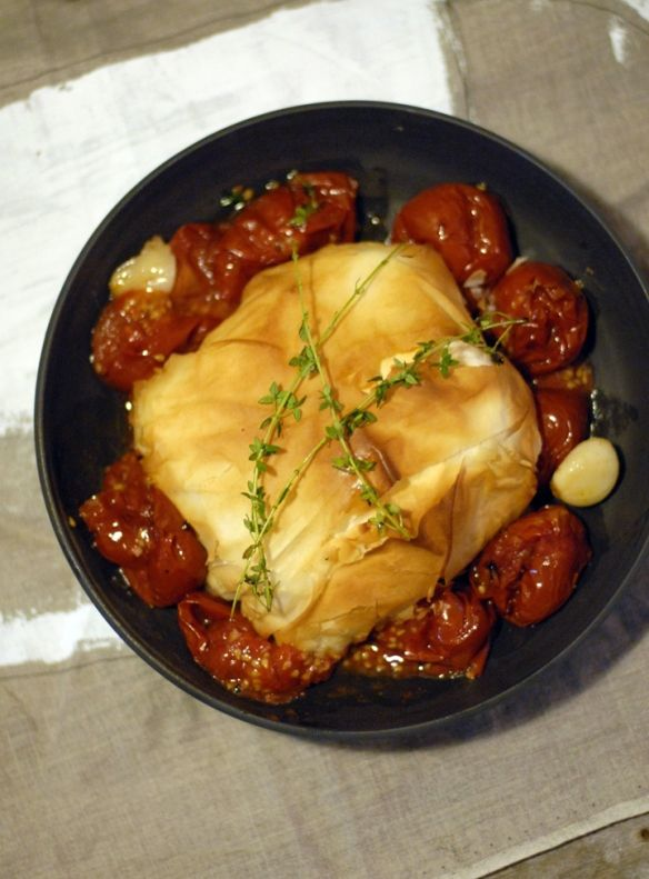 Baked Feta in Phyllo Pastry, with Slow Roasted Tomatoes & Garlic