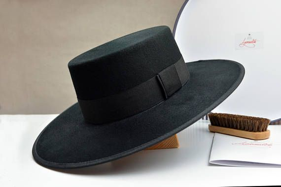 b525a5876e598 Men Women The Dress Bolero Wide Brim Black Wool Felt Flat Crown Bolero Hat
