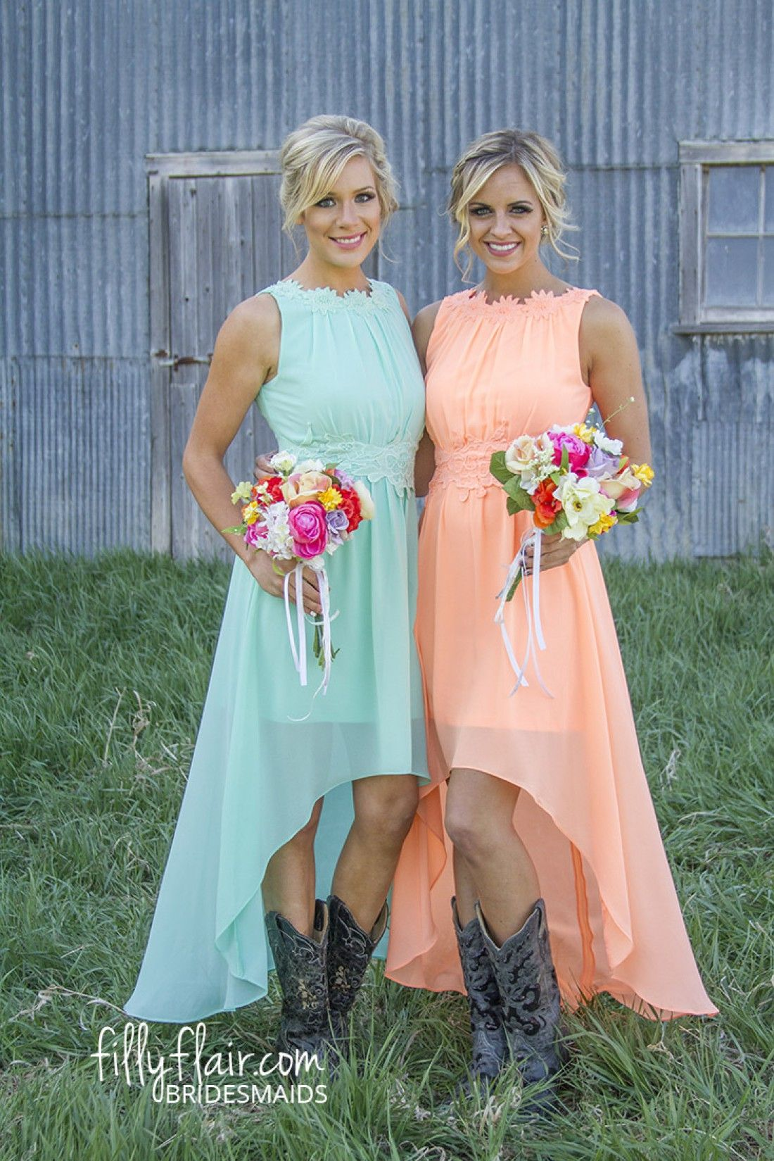 Romance in high Low in Peach - Bridesmaids | Wedding, Bridal Shower ...
