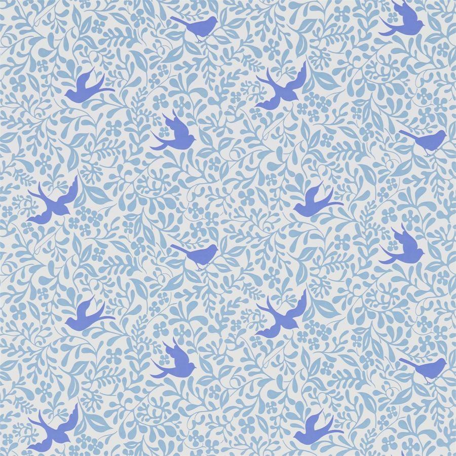 Alondras azul ndigo telas papel papeles pintados - Papel pintado exclusivo ...