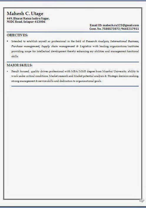 Curriculum Vitae Format Sample Template Example Of Excellent