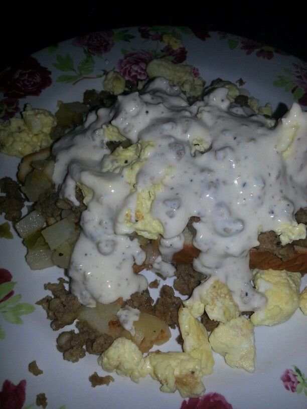 Pig Slop. Homemade biscuits, topped with hash browns, sausage,  and eggs, covered in sausage gravy.