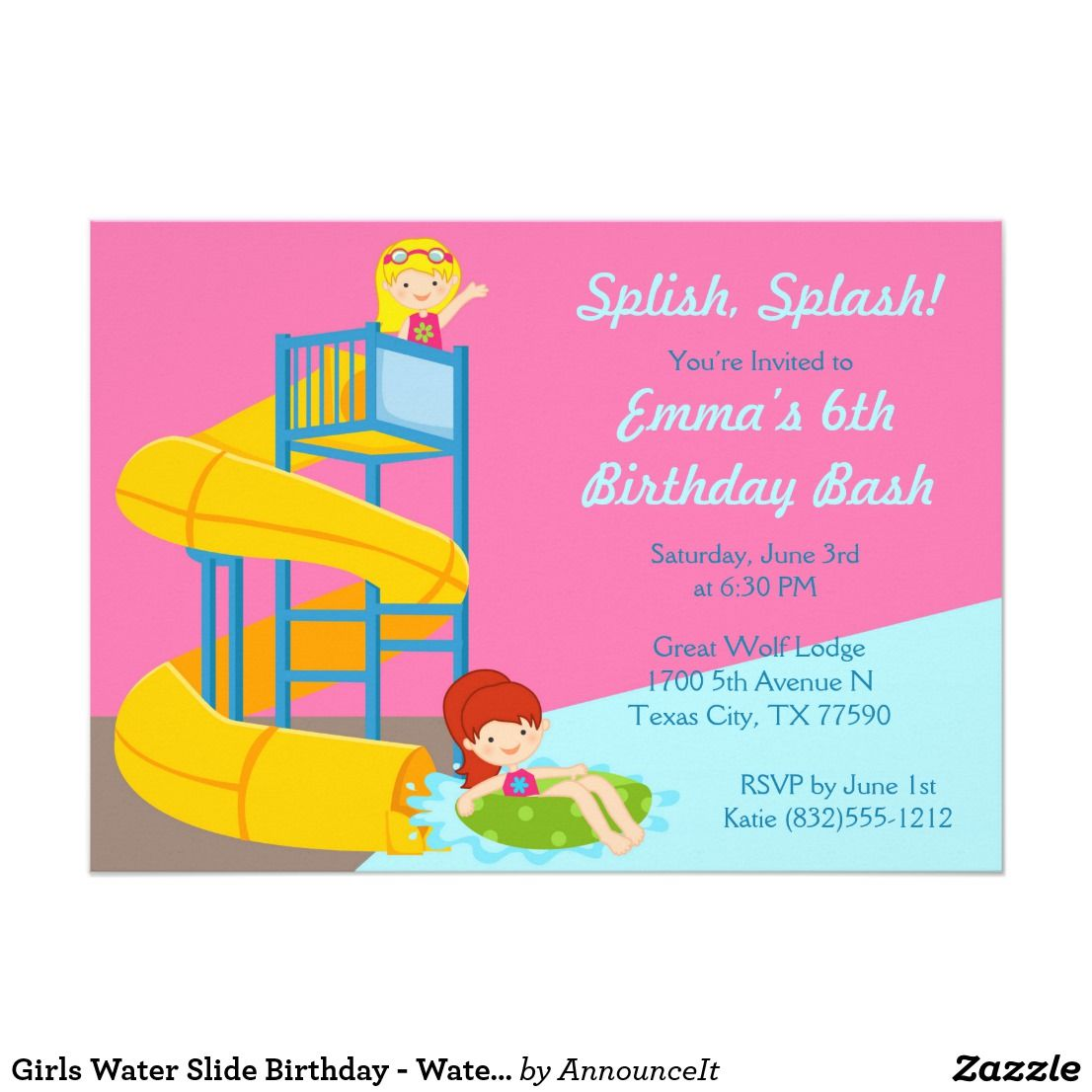 Girls Water Slide Birthday Water Park Pool Party Invitation