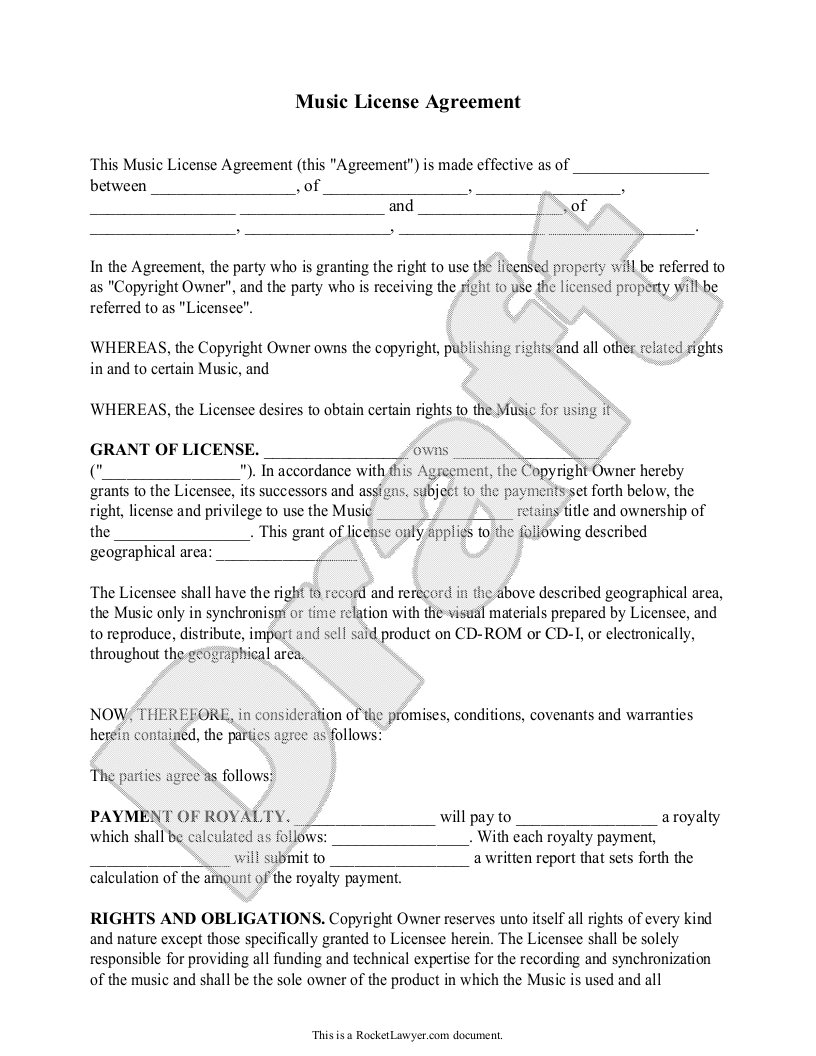 Sample Music License Agreement Form Template