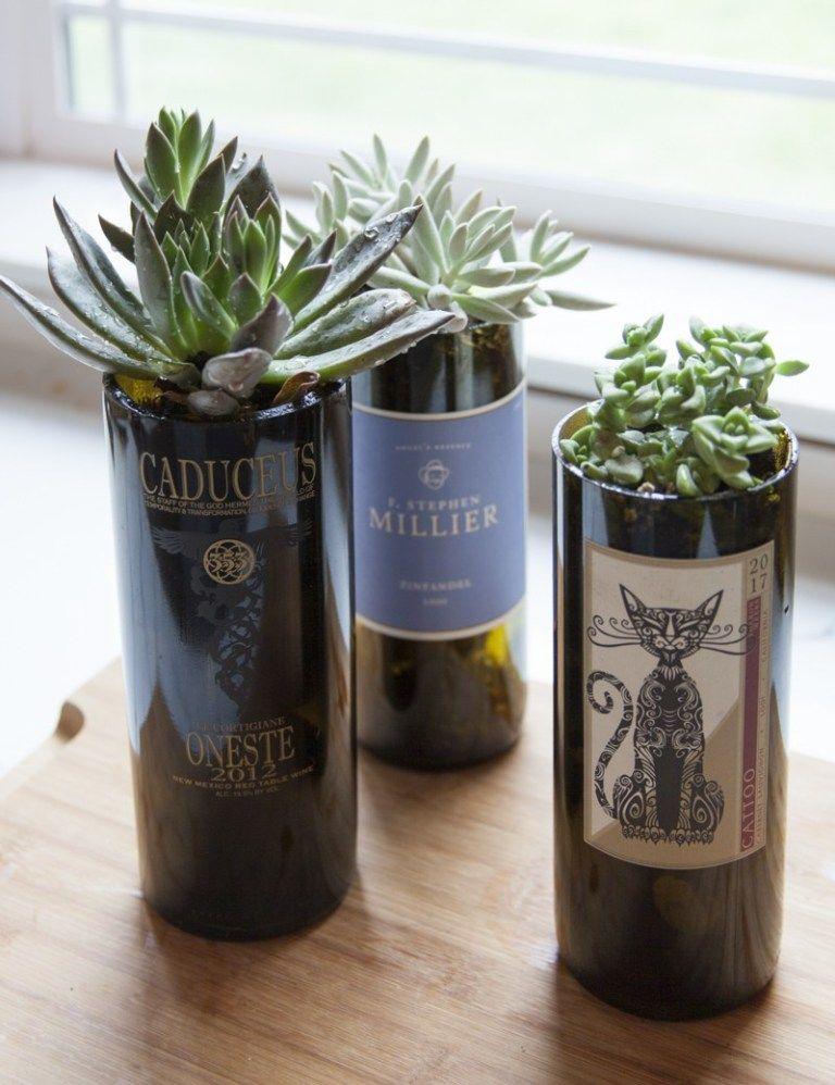 Diy Wine Bottle Planters Wine Bottle Planter Plants In Bottles Wine Bottle Crafts