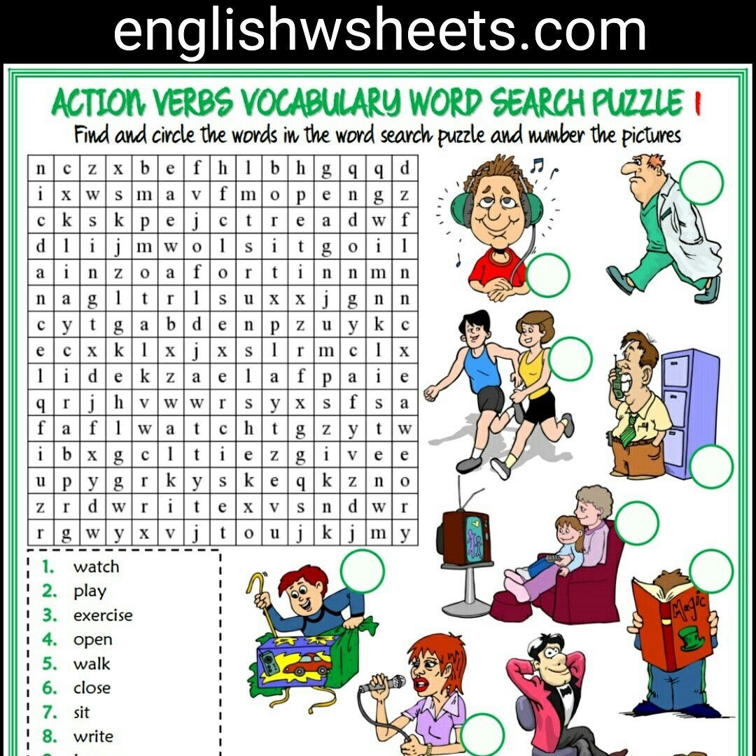Action Verbs Esl Printable Word Search Puzzle Worksheet