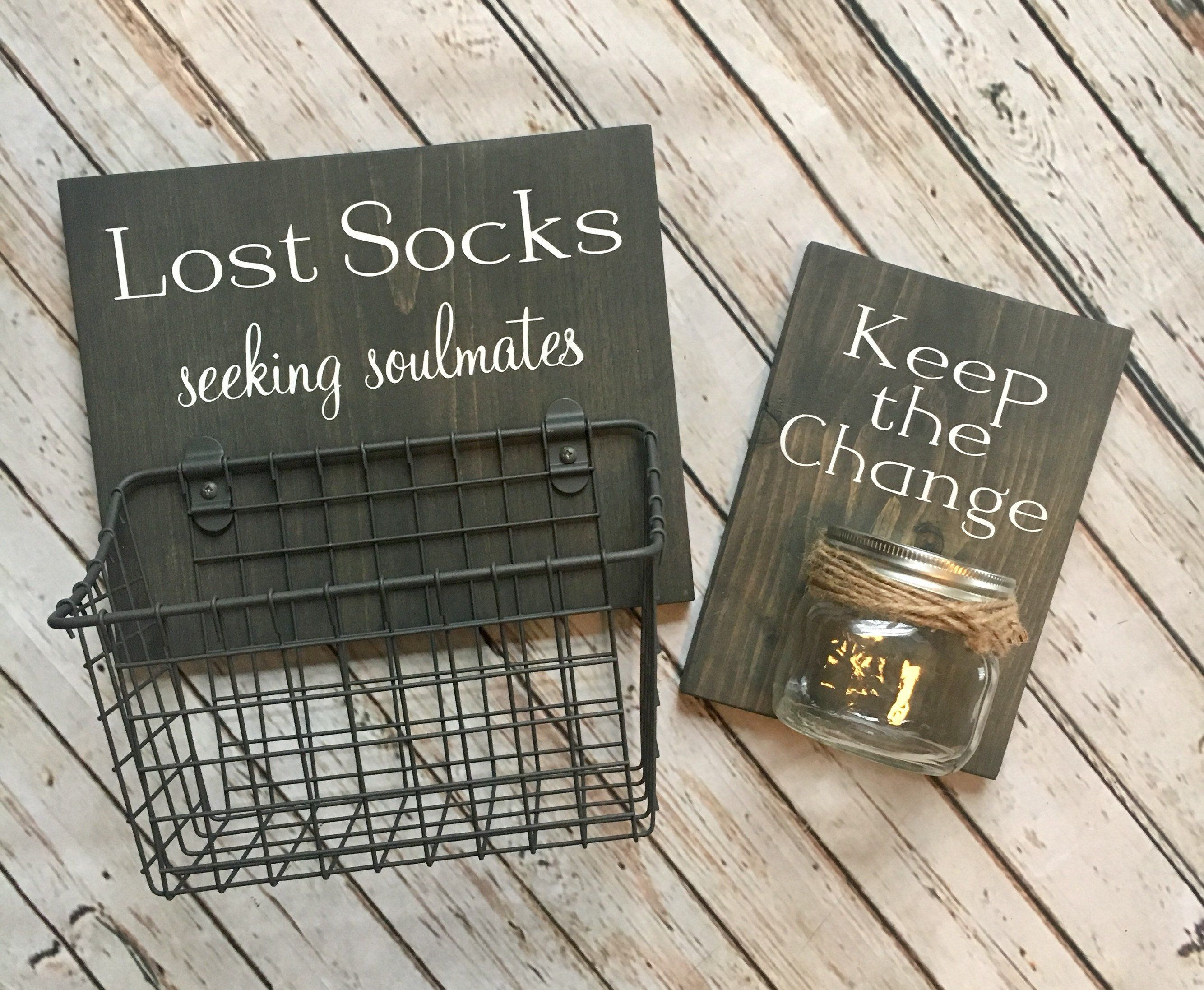 Laundry Room Sign Combo | Keep the Change AND Lost Socks - Seeking Soulmates (or Solemates) | wood sign with attached glass jar coin holder #remodelingorroomdesign