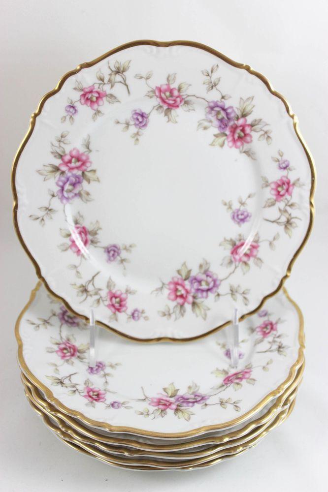 Nice Set 6 Vintage Edelstein Bavaria Maria China Dinner Plates Gold