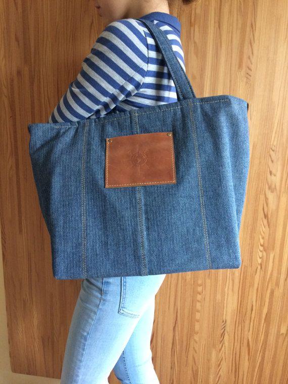 Jeans bag Shoulder bag Denim handbag Tote bag Recycled denim bag