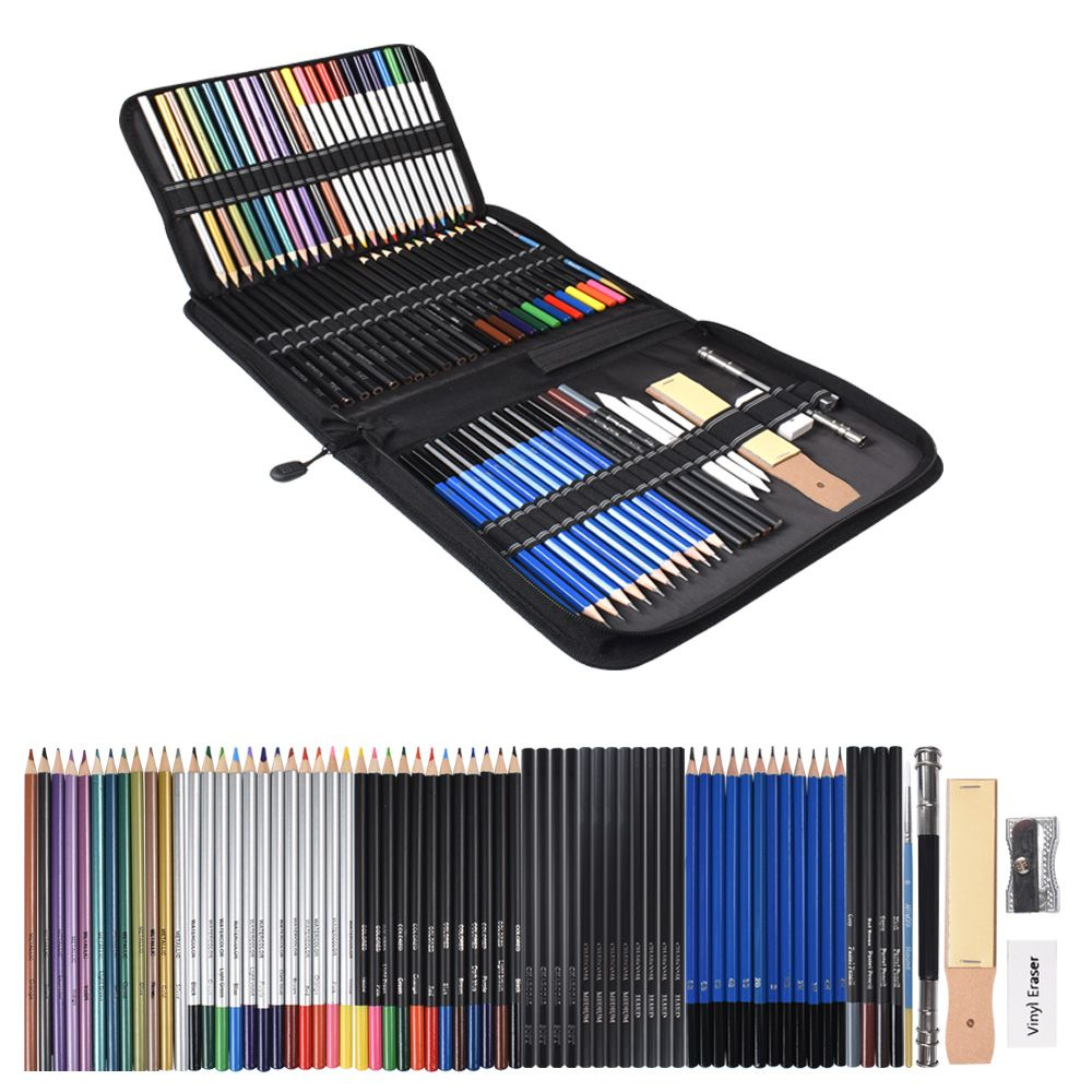72pcs Drawing Pencils Set Sketch Colored Pencils Watercolor