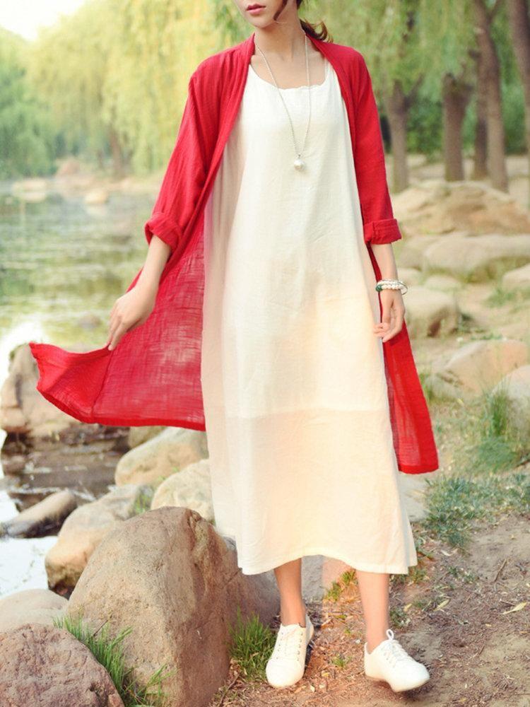Casual solid color long sleeve kimono long sleeve kimono