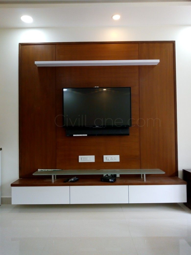 Latest Tv Unit Design: Veneer Finish TV Unit Design + Wall Mounted