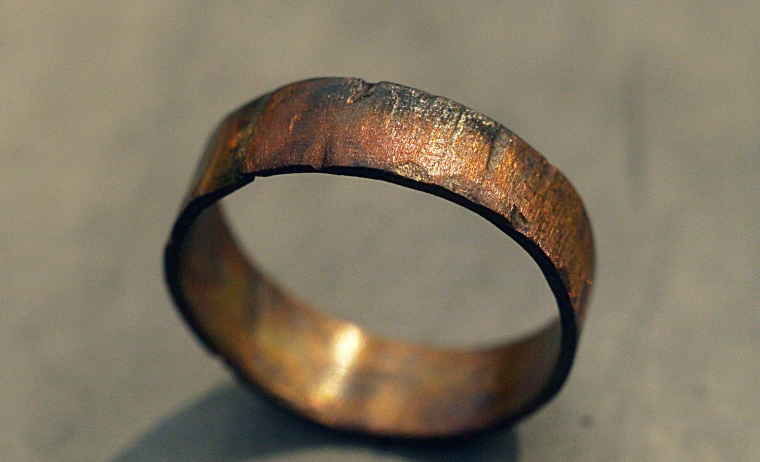 Custom Copper Ring Band Rugged Wood Texture Ring Mens