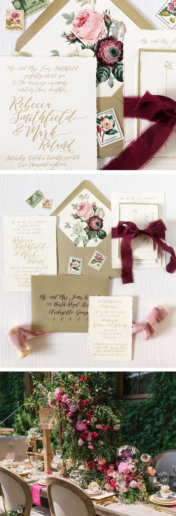 Burgundy, blush and gold wedding invitations. Love the calligraphy ...