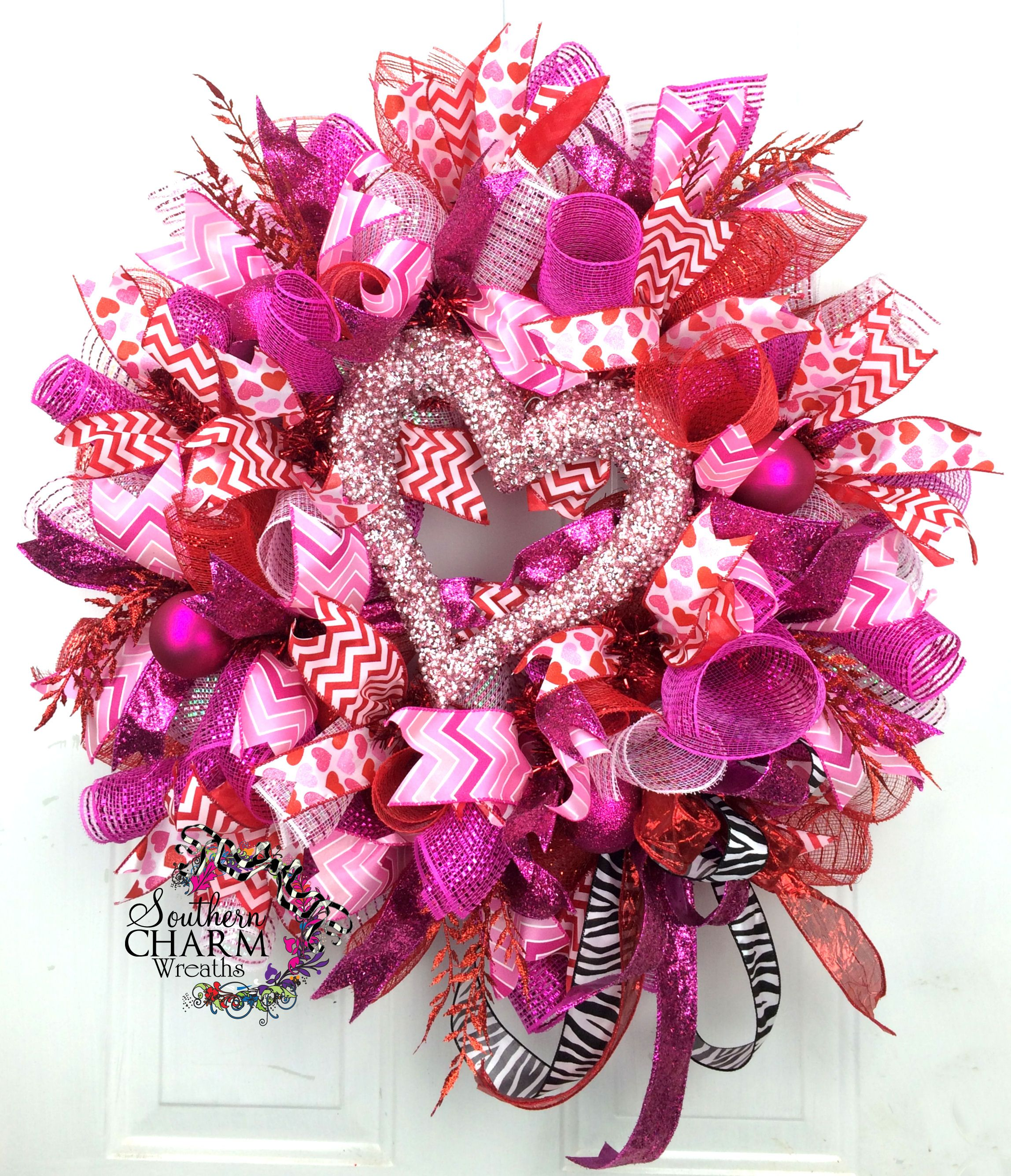 deco mesh valentines day heart wreath by valentinesday decor party. Black Bedroom Furniture Sets. Home Design Ideas