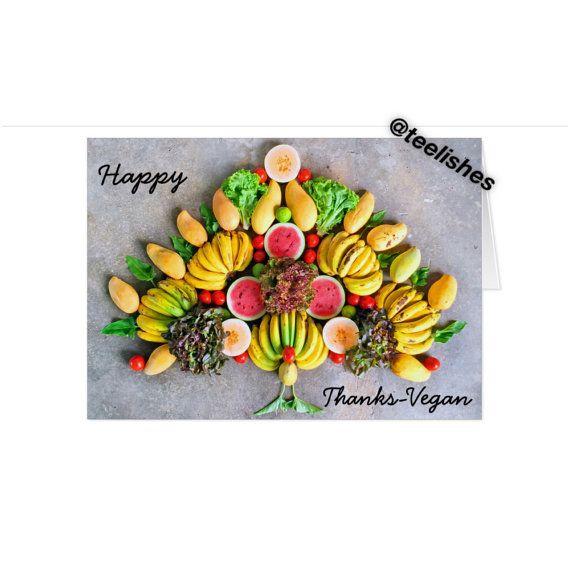 Thanksgiving or Thanks-Vegan Greeting Card by Teelishes on ...