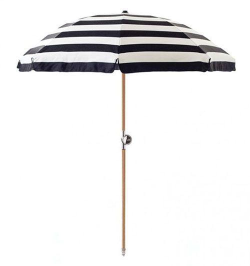 Basil Bangs Black And White Striped Beach Umbrella
