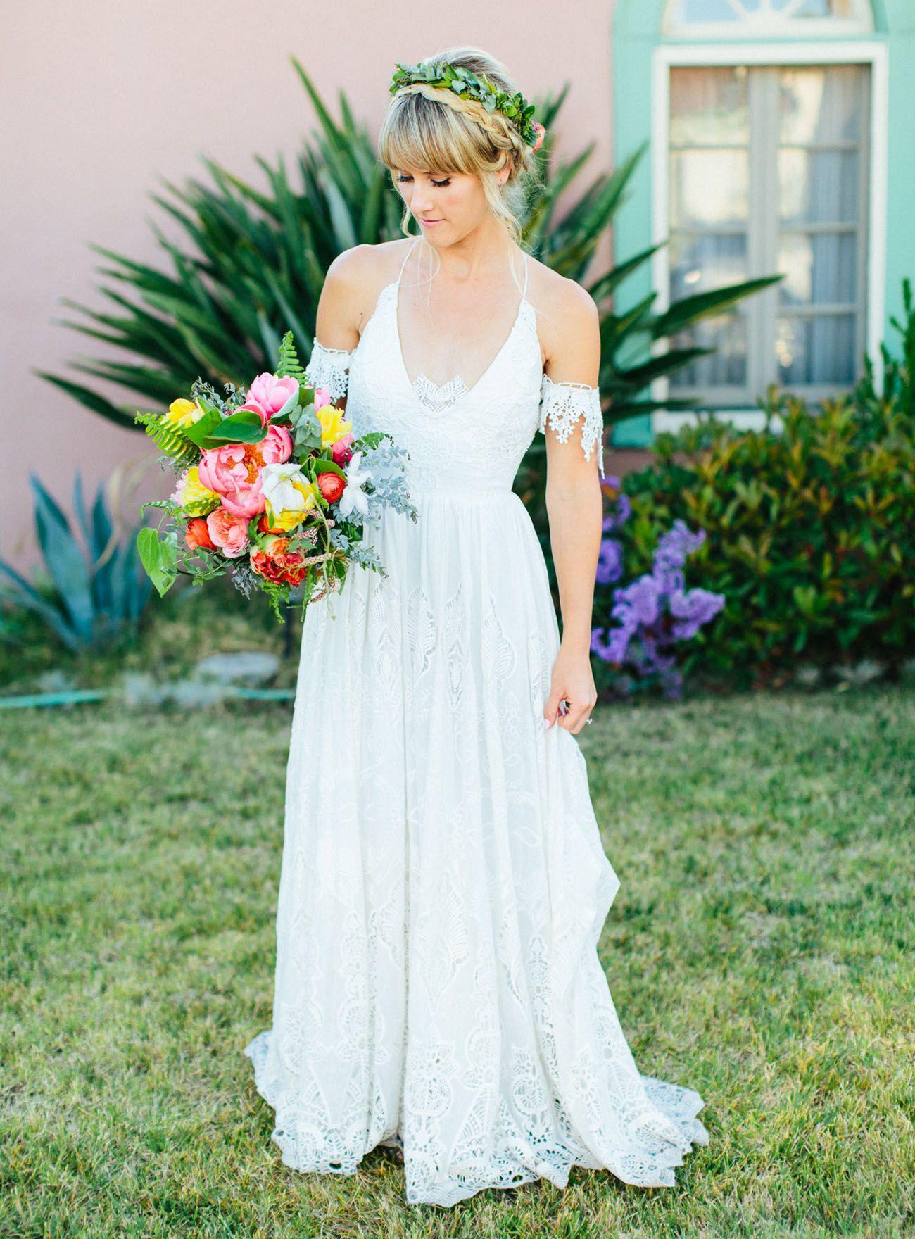 Stylish bohemian backyard wedding candice joe brides back