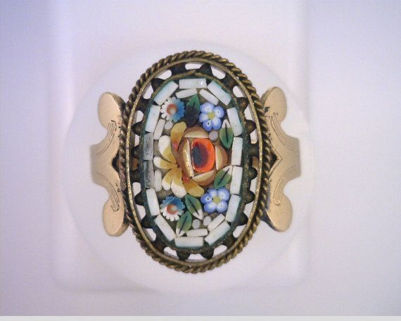 Victorian Micro Mosaic Ring by MonCoeurfinejewelry on Etsy, $298.00