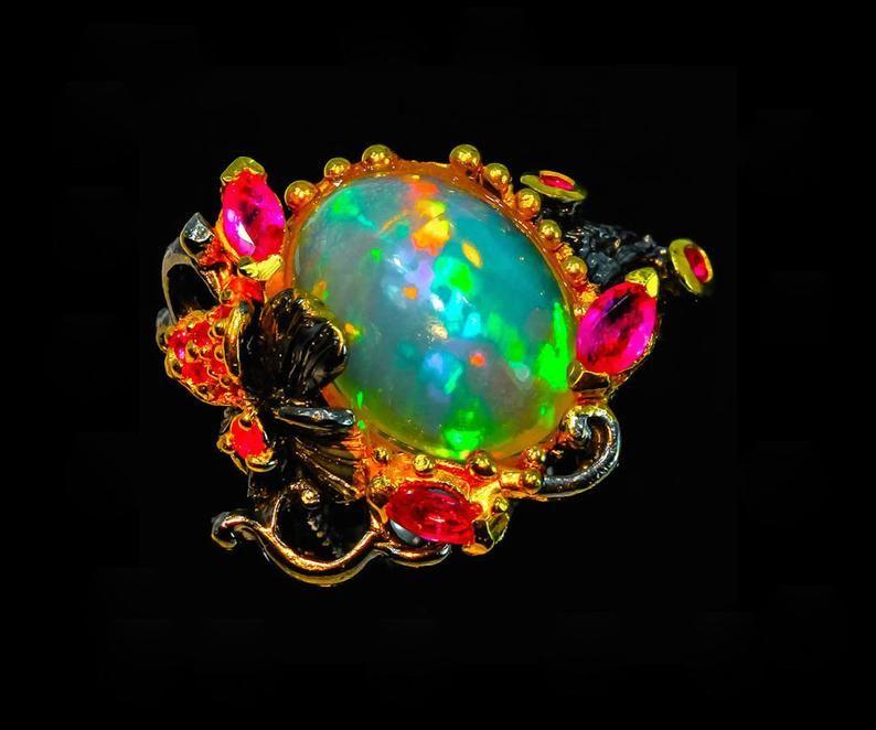 Ethiopian opal ring branch ring statement ring opal