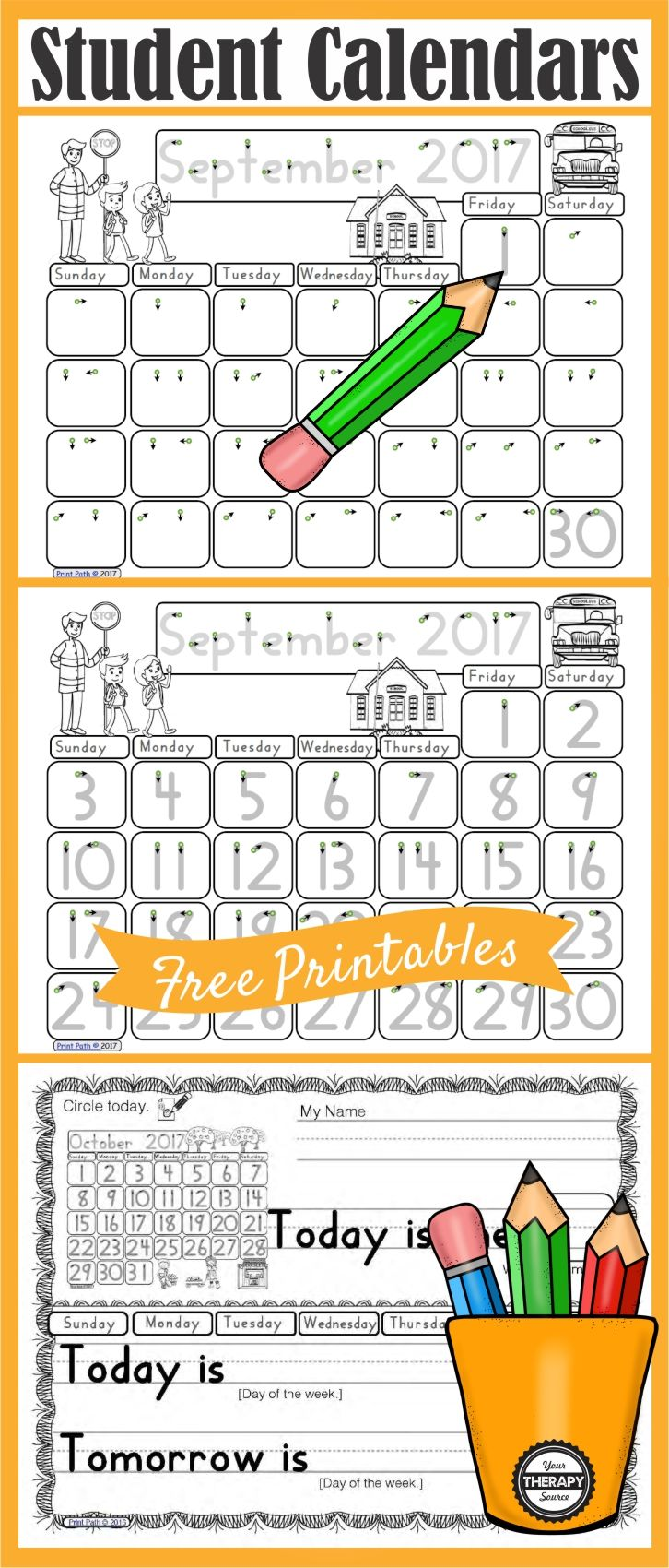 Free Calendar Work Printables | Activities of Daily Living ...