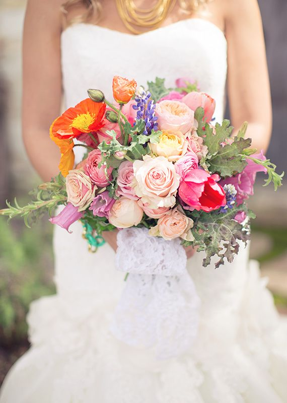 Bright Poppy And Rose Bridal Bouquet