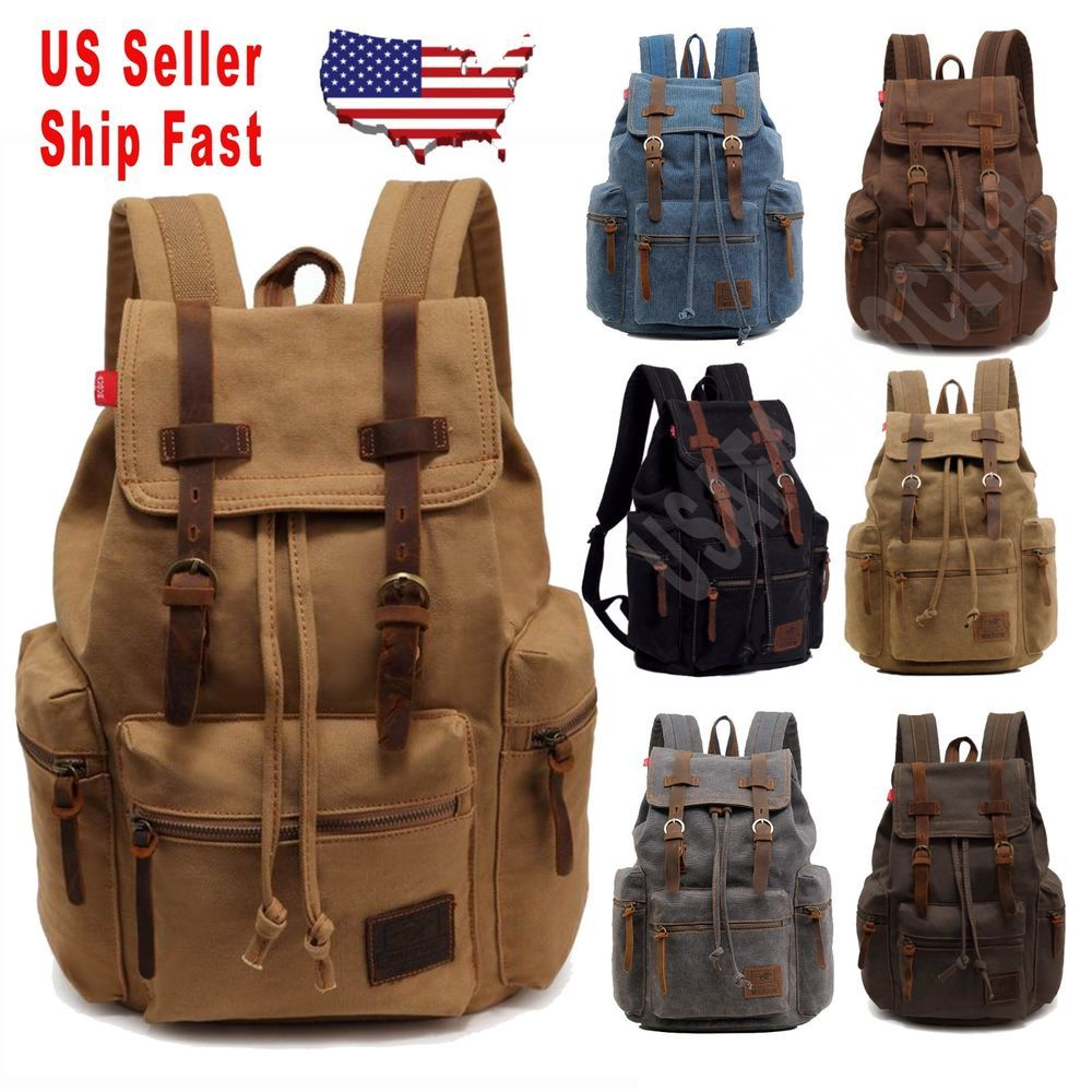 Men Women Travel Canvas Backpack Rucksack Camping Laptop Hiking School Book  Bags   31.99 End Date  Wednesday Oct-3-2018 5 00 36 PDT Buy It… c209d2699a2eb