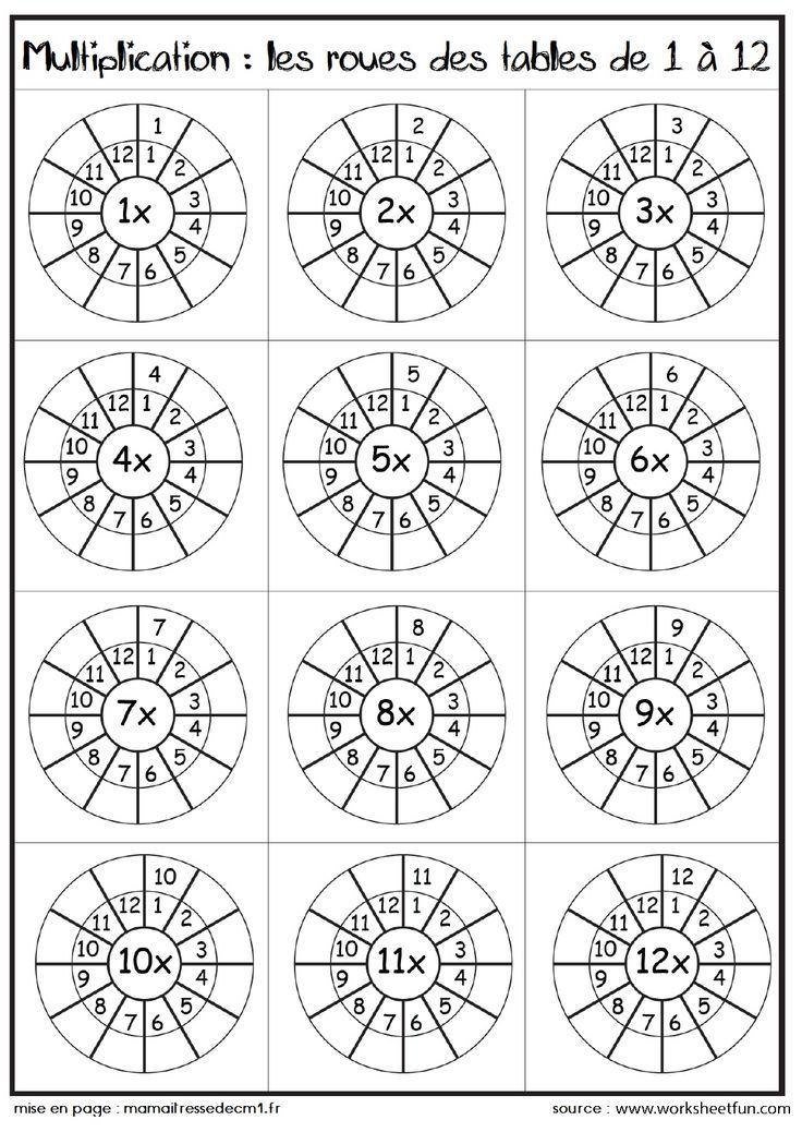 Les tables de multiplication sous forme de roues ecole Pinterest - multiplication table