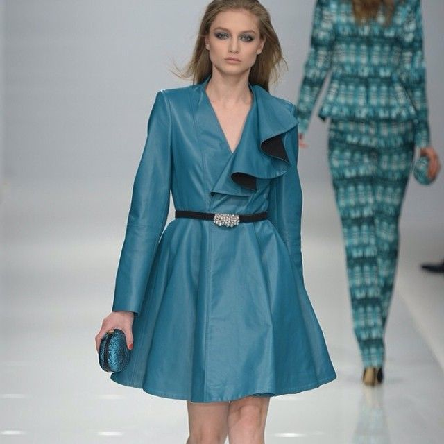 Genny #RTW #Fall2014 Photo by Davide Maestri  Sara Cavazza Facchini was aiming for a regal vibe with her sophomore collection. Love the #crystal touch with the belt.  #WWD #turquoiseint #turquoisemtl #fashiontrends #fashionweek #Turquoise#teal #green