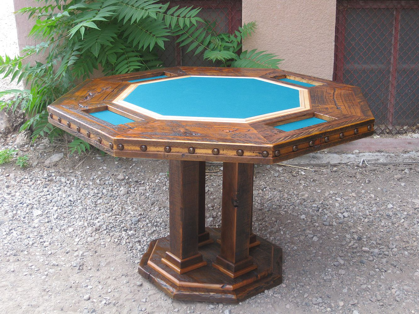 Beautiful Rustic Poker Table With Its Blue Felt And Poker Chip Trays Ready  To Go!