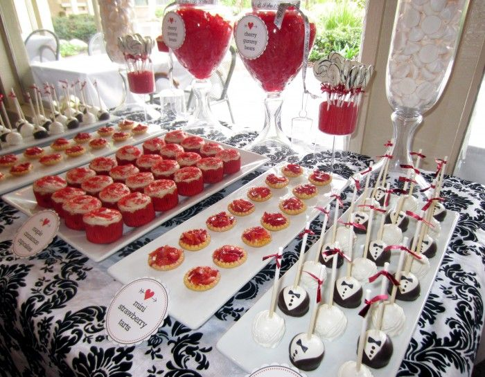 Red, black, and white themed bridal shower dessert bar ...