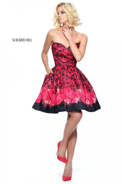 Sherri Hill short dress. Black and red floral, strapless, sweetheart  neckline dress.
