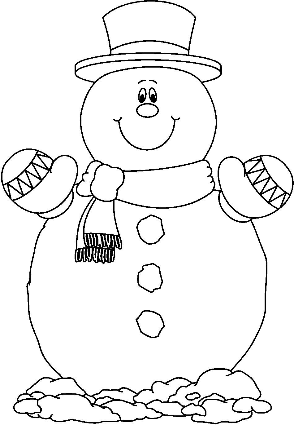 Snowman coloring printable pages - Smilling Snowman Coloring Pages Free
