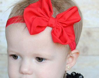 Red Chiffon arco de cabelo Headband chique gasto do vintage flor bebê cabeça