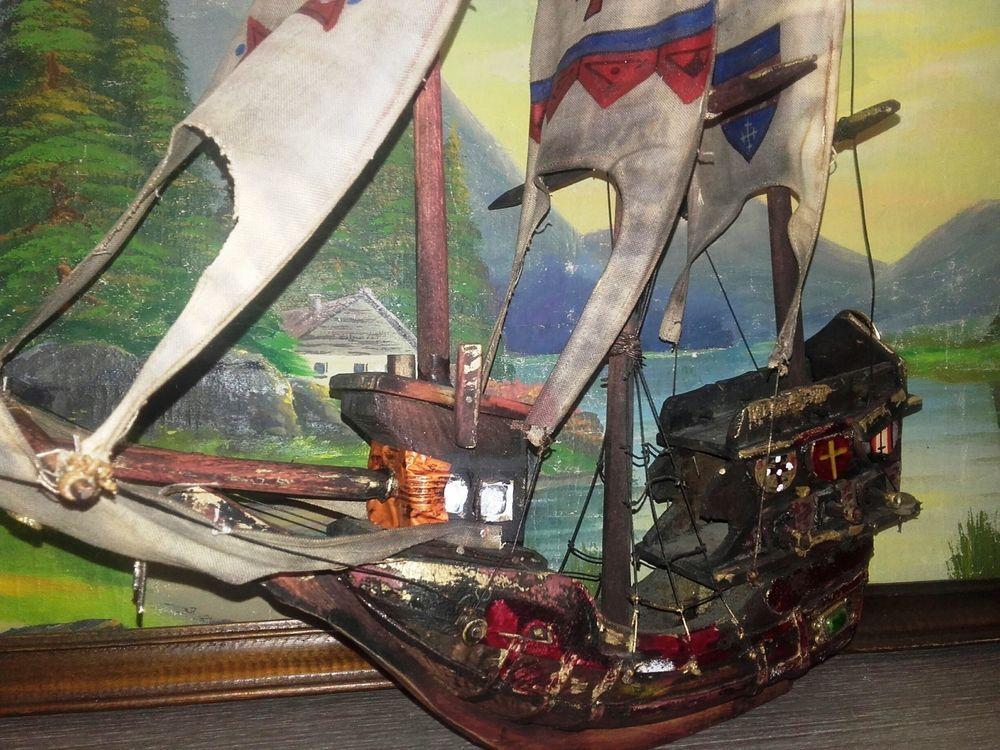 Antique Wooden Model Ship Knights Templar Antique Wooden Model