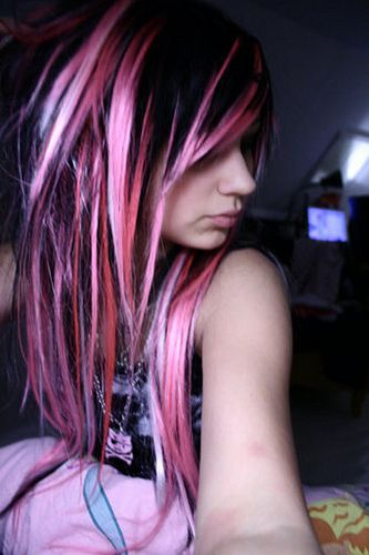 Pink Hair Love It But No Way Could I Rock This At My Age Lol Blonde Scene Hair Scene Hair Pink And Black Hair