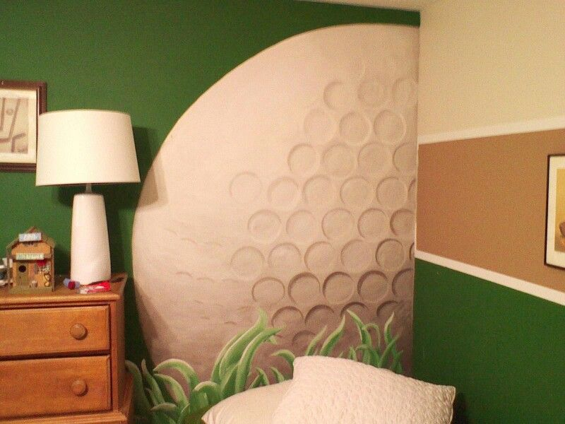 Explore Golf Room  Golf Theme  and more Hand painted golf ball for wall of teen boy s room  I did it  . Golf Decorated Rooms. Home Design Ideas