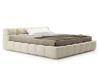 Letto contenitore imbottito matrimoniale in tessuto TUFTY BED ...