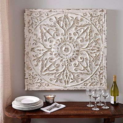 Product Details Aria Distressed Cream Embossed Metal Tile